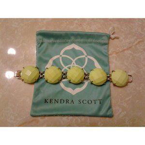 Kendra Scott Neon Yellow Cassie Gold Bracelet Rare